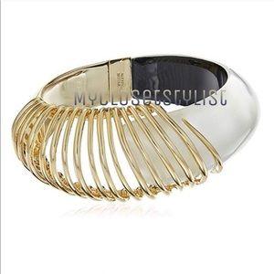 Alexis Bittar Crystal Gold Cuff Statement Bracelet